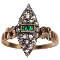 1880s Victorian Yellow Gold Diamond and Emerald Engagement Ring