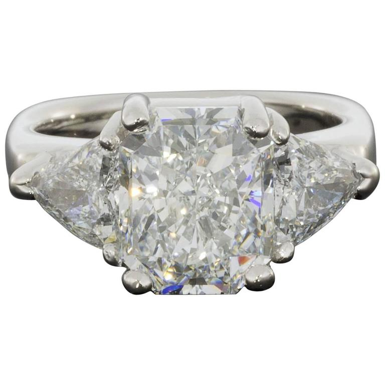 Magnificent Colorless Radiant and Triangle GIA Certified Diamond Engagement Ring