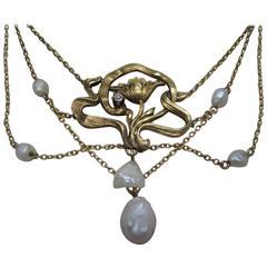 Art Nouveau Pearl and Diamond Gold Necklace