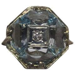 14 Karat Filigree Ring with Aquamarines and Diamond