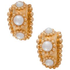 Chanel Baroque Pearl Yellow Gold Huggie Clip-On Earrings