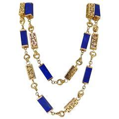 Lapis Yellow Gold Rectangular Link Necklace
