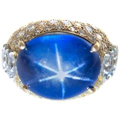 AGL Certified 21.31 Carat No Heat Burma Star Sapphire Diamond Gold Ring