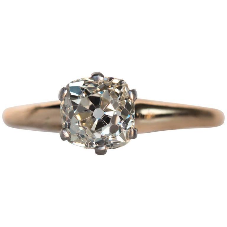 1900s Edwardian Yellow Gold and Platinum 1.26 Carat Diamond Engagement Ring