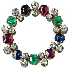 Sapphire, Emerald, Ruby and Diamond Circle Brooch