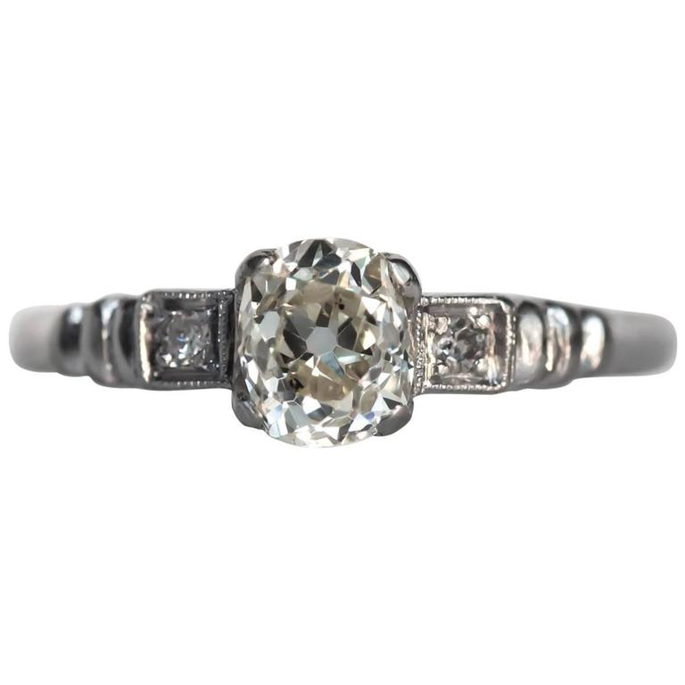 1920s Art Deco Platinum GIA Certified .71 Carat Diamond Engagement Ring