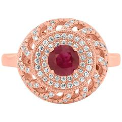 Ruby Pink Diamond White Diamond Rose Gold Double Halo Cocktail Ring