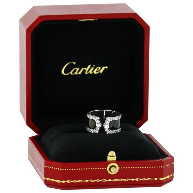 Cartier Black Lacquer Diamond White Gold Double C Ring