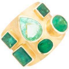 Emerald Diamond Gold Labyrinth Ring
