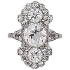 English Edwardian Ornate Diamond Platinum Ring