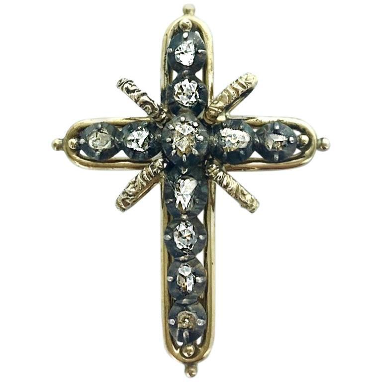 1900s Cross Diamond Silver Gold Brooch