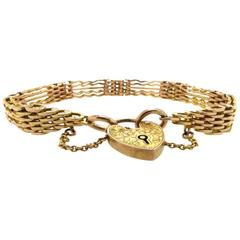 Antique Late Victorian Early Edwardian Yellow Gold Gate Bracelet circa 1910