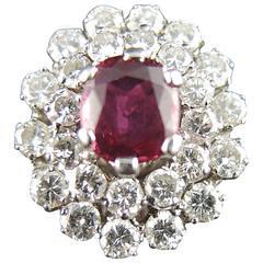 Ruby Diamond White Gold Cluster Ring
