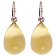Colleen B. Rosenblat Lemon Quartz Diamonds White Gold Earrings