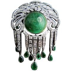 French Emerald Diamond Brooch and Pendant