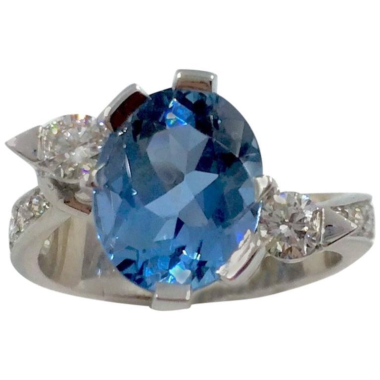 G.Minner Aquamarine Diamonds Gold Ring