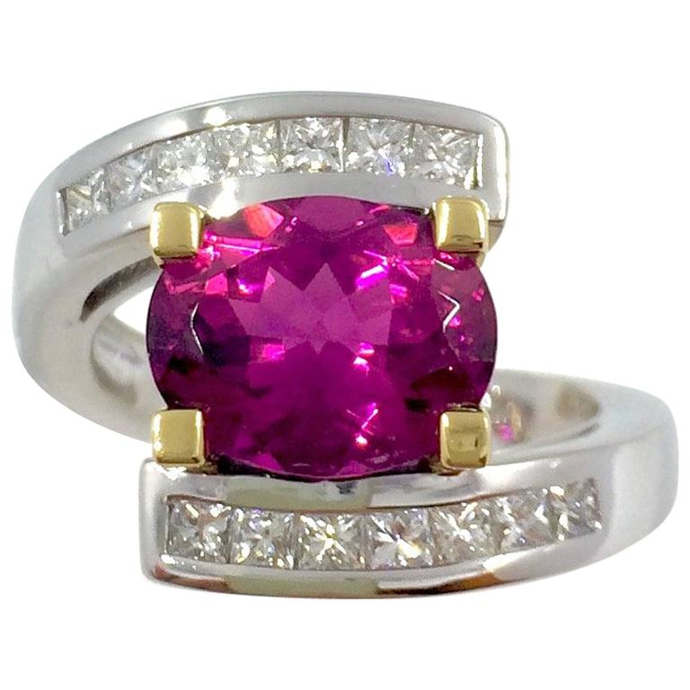 Pink Tourmaline Diamonds White and Yellow Gold Ring