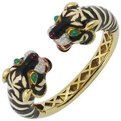 Diamond Gold Enameled Tiger Bracelet