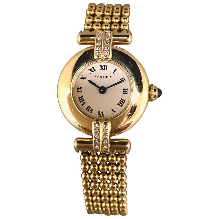Cartier Yellow Gold Paving Diamonds Colisee Quartz Ladies Wristwatch