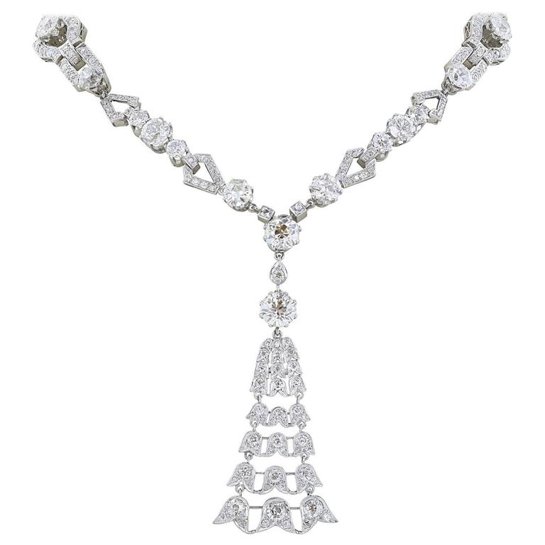 45 Carat Edwardian Sautoir Diamond Necklace For Sale