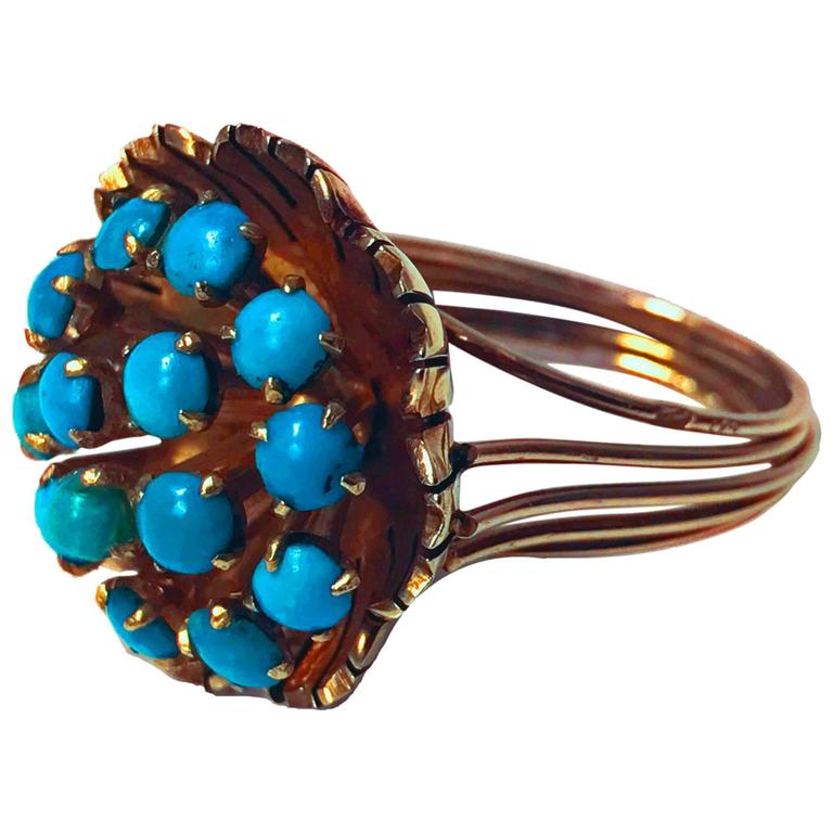 1960s Turquoise Cluster Gold Butter Cup Design Ring