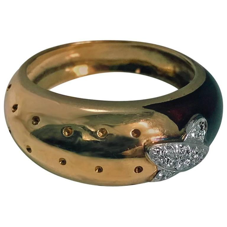 Italian 18 Karat Diamond and Enamel Ring, 20th Century