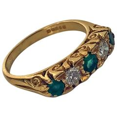 Classic English Diamond Emerald Carved Gold Ring