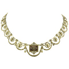 French 2nd Empire 18 Karat Gold Diamond Enamel Necklace in Case, circa 1860