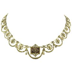 French 2nd Empire 18 Karat Gold Diamond Enamel Necklace in Case, circa 1860