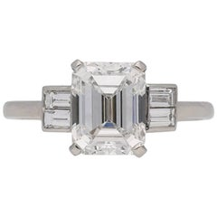Art Deco Emerald-Cut 2.09 Carat Diamond Baguette Flanked Solitaire Ring