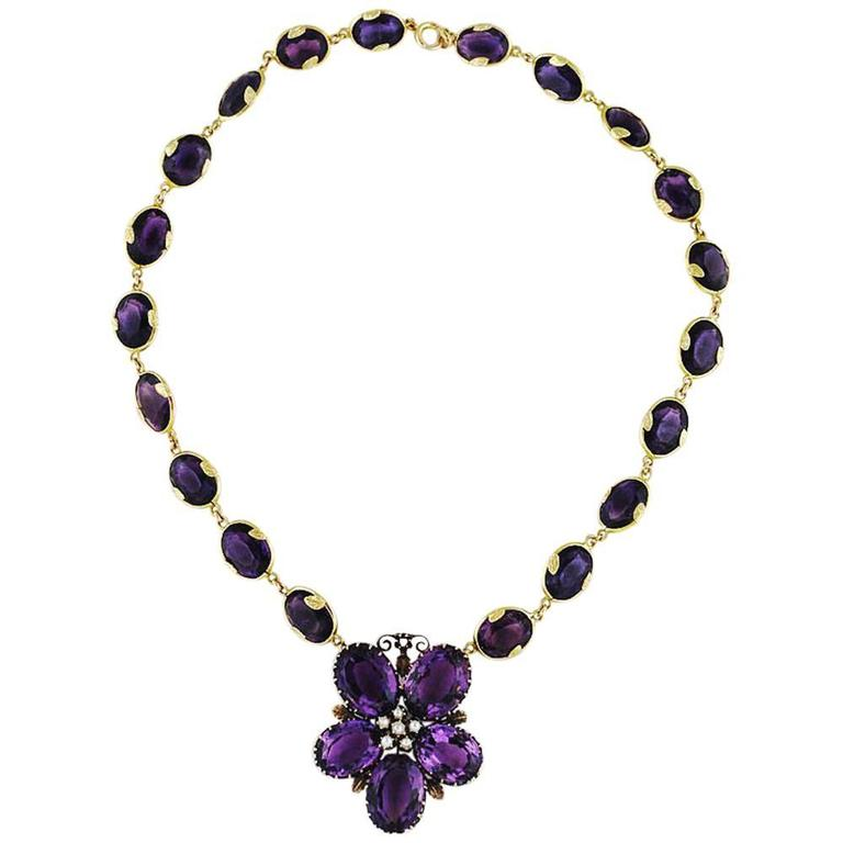 Antique Amethyst Gold Necklace Flower, circa 1900