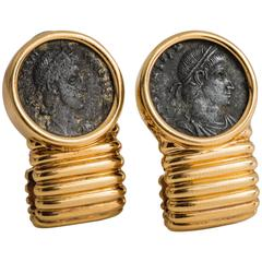 Ancient Roman Coin Ribbed Yellow Gold Earrings