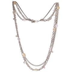 David Yurman Rose, Yellow and Green Quartz with Pearl Figaro Link Necklace