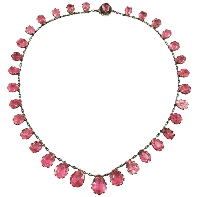 Natural Pink Tourmaline Riviere Necklace Antique  1