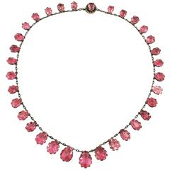 Natural Pink Tourmaline Riviere Necklace Antique