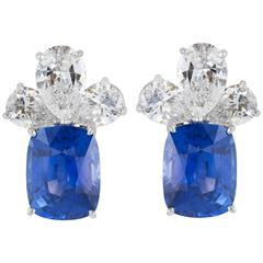 AGL Certified 16.47 Carat Natural Unheated Ceylon Sapphire Diamond Earrings