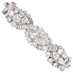 1960s Pear Shape Round Diamond and Baguette Platinum Link Bracelet