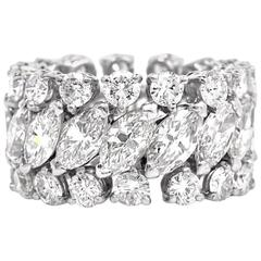 1960s Marquise and Round Diamond Platinum Eternity Band Ring
