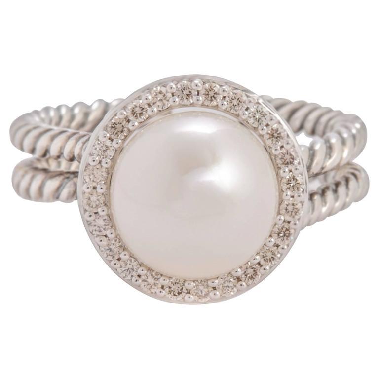25a165a0323cc David Yurman Pearl and Diamond Cable Ring