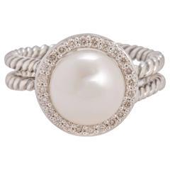 David Yurman Pearl and Diamond Cable Ring