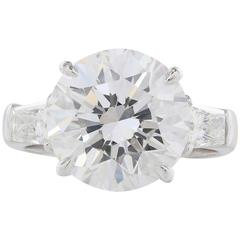 6.04 Carat GIA Certified Three Stone Diamond Platinum Ring