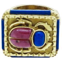 Rhodochrosite and Lapis Lazuli Scarab Gold Ring