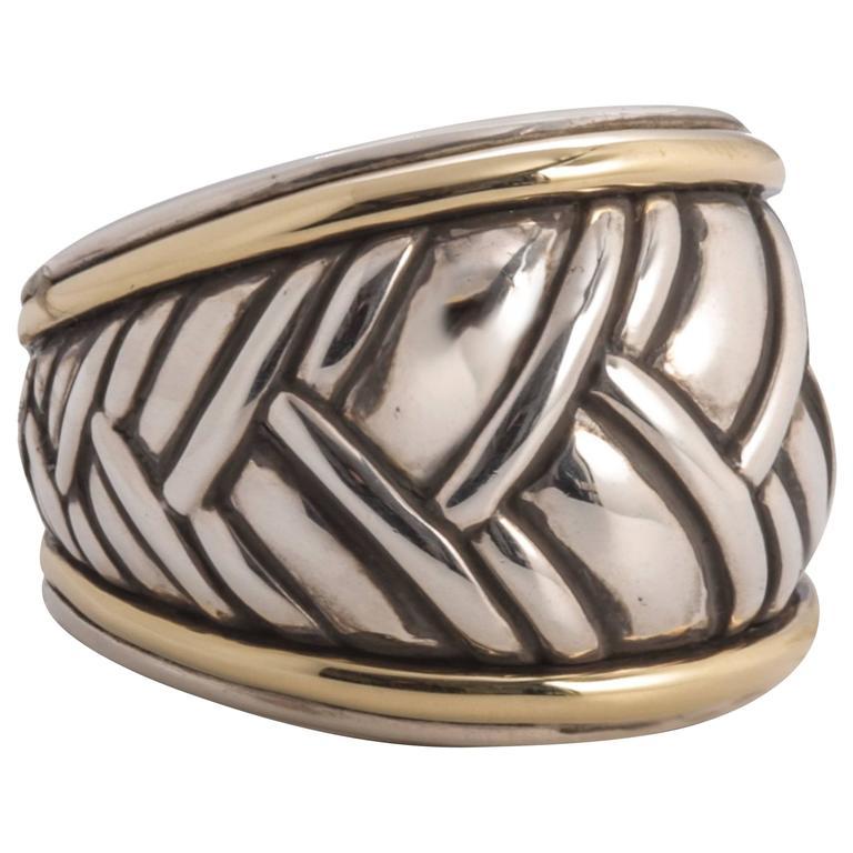 David Yurman Two-Tone Cross-Hatch Cable Ring