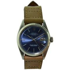 Rolex Stainless Steel Datejust Blue Dial Perpetual Wind Watch, 1970s