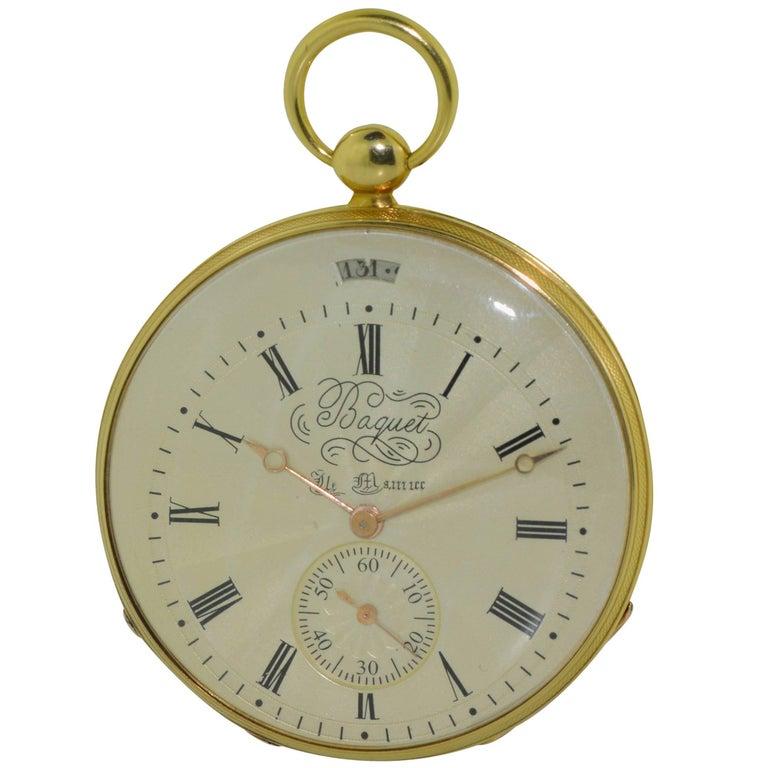 Baquet Yellow Gold Calendar Engine Turned Breguet Dial Pocket Watch