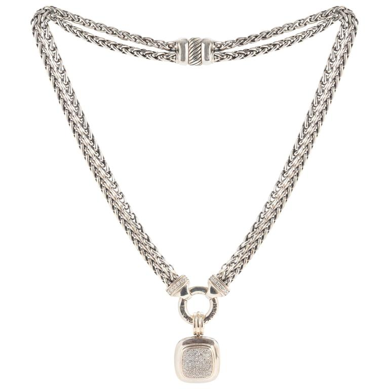 David yurman stirling silver and white gold diamond albion pendant david yurman stirling silver and white gold diamond albion pendant necklace for sale aloadofball Gallery