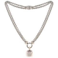 David Yurman Stirling Silver and White Gold Diamond Albion Pendant Necklace