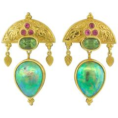 Paula Crevoshay Mabe Pearl, Tourmaline and Sapphire Earrings