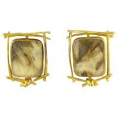 Fossilized Stone Earrings by Carolyn Morris Bach