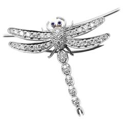 Tiffany & Co. Diamond Dragonfly Platinum Brooch Pendant Necklace